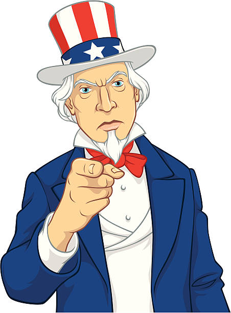 Illustration of Uncle Sam pointing Vector cartoon isolated on white background. Elements on separate layers, easy to edit. No gradients. uncle sam stock illustrations