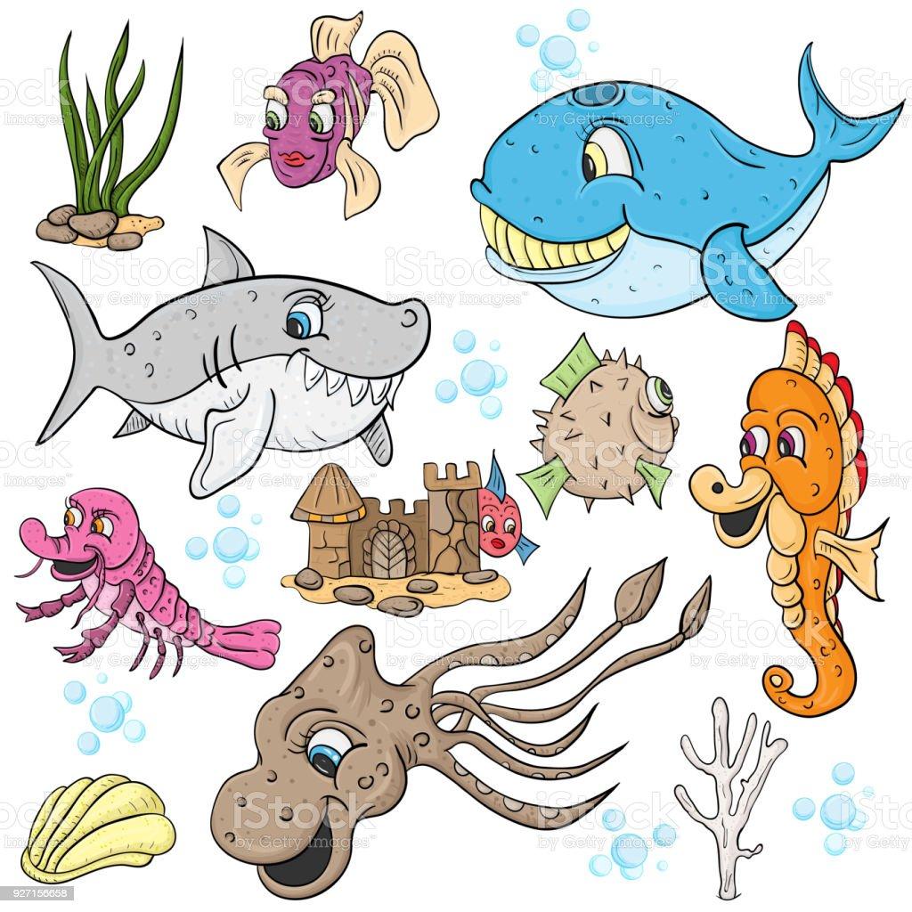 vector children illustration, underwater world, fish and animals,...
