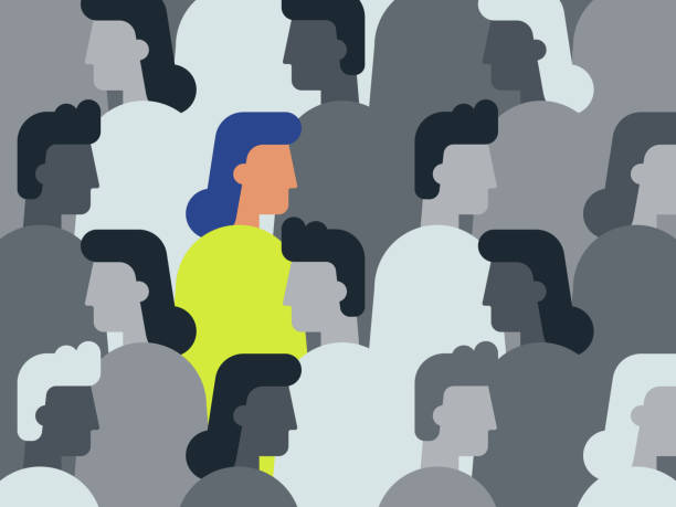 illustration of unique woman in crowd of people - diversity stock illustrations