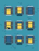 istock Illustration of urban apartment building at night 1271187796