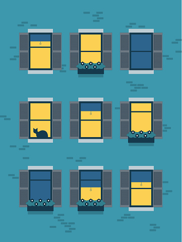 Illustration of urban apartment building at night