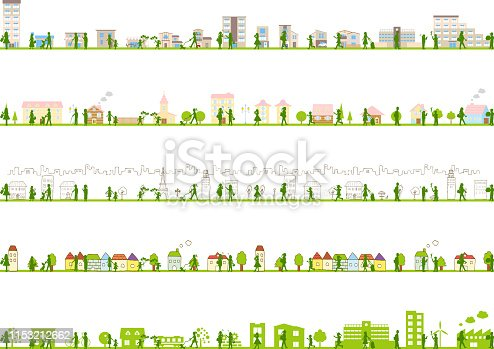 illustration of urban landscape,building,school,factory