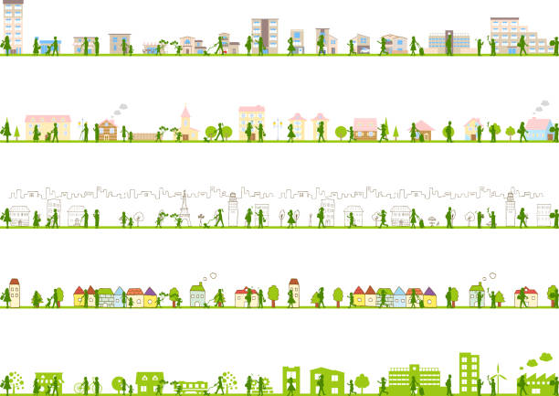 illustrazioni stock, clip art, cartoni animati e icone di tendenza di illustration of urban landscape - city walking background