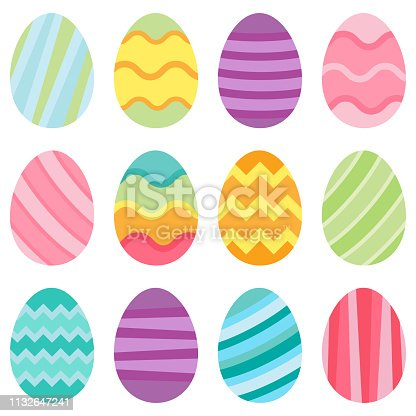 Illustration of pastel easter eggs on a white background
