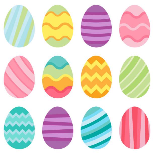 Illustration of vector easter eggs Illustration of pastel easter eggs on a white background egg stock illustrations