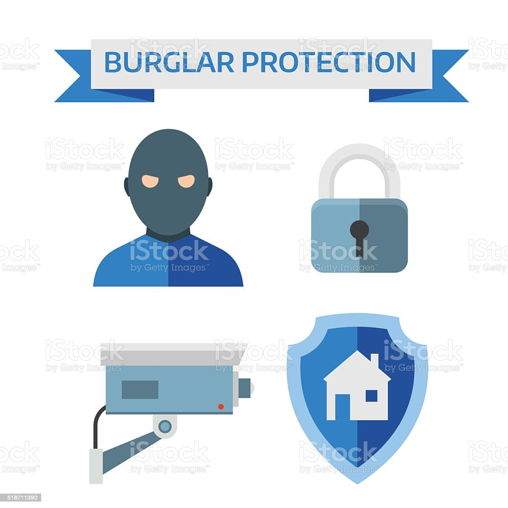 Illustration Of Vector Flat Design Composition With Home Security ...