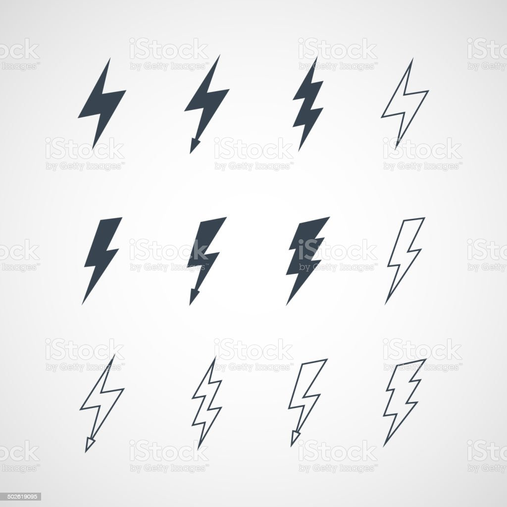 Illustration of vector lightning icon set vector art illustration