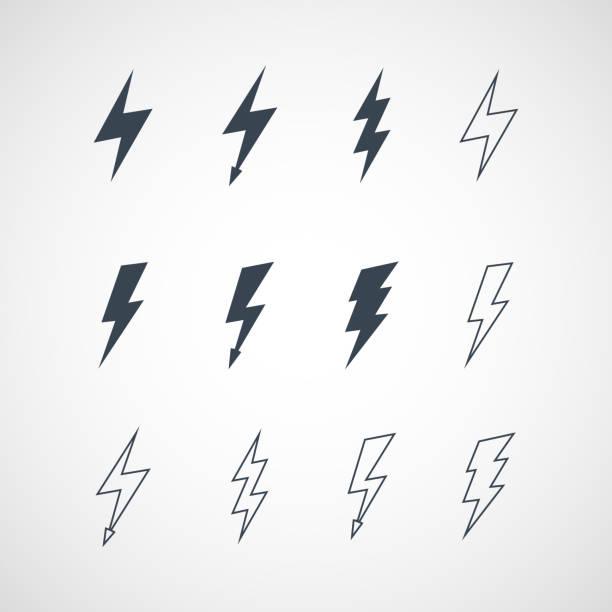 иллюстрация значок набор векторных молнии - lightning stock illustrations