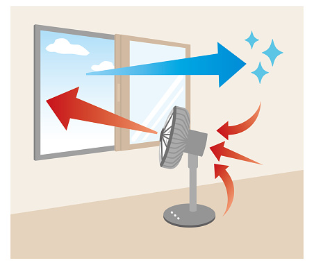 Illustration of ventilating a room with the wind of a fan directed out of the window