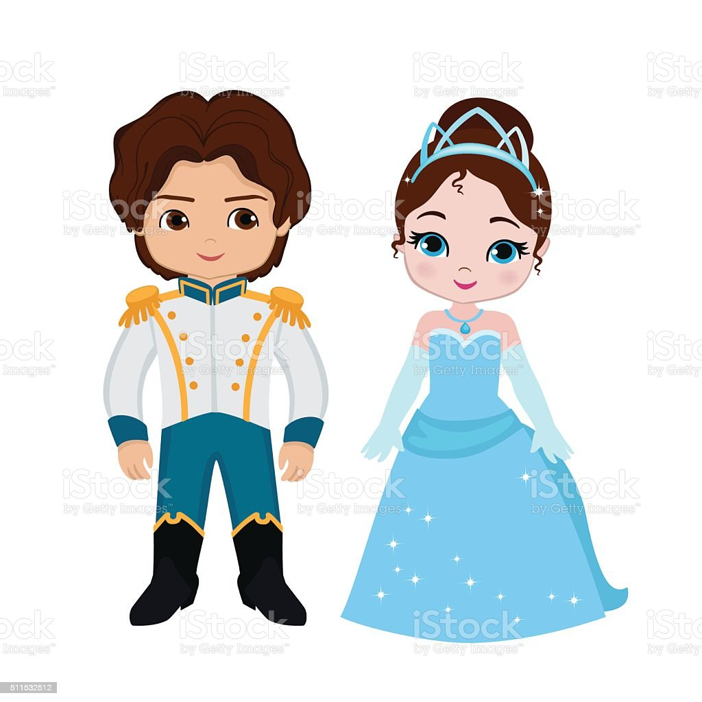 Illustration of very cute Prince and Princess vector art illustration