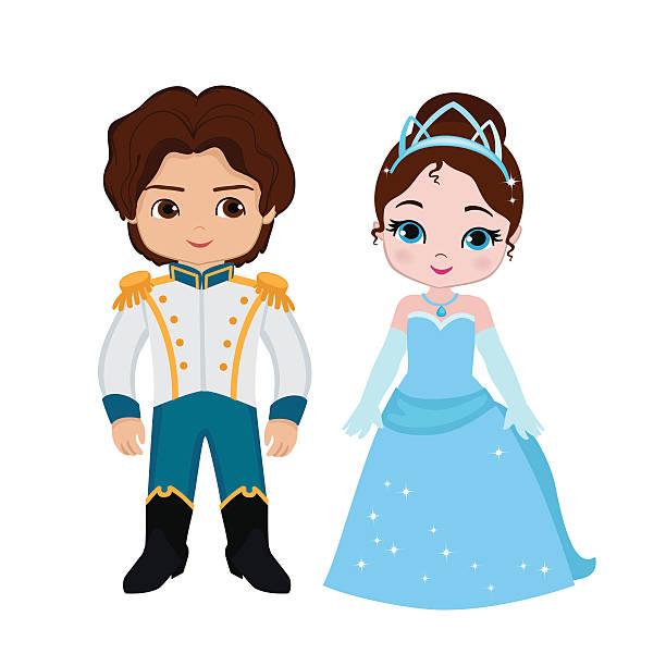 illustration der süße prinzen und prinzessinnen - prince stock-grafiken, -clipart, -cartoons und -symbole