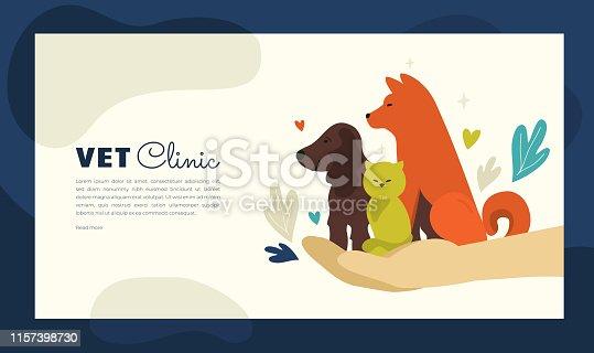 Illustration of vet clinic for web or print design
