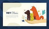 Design for vet clinic, pet care, medicine, veterinary hospital. Vector illustration with healthy dogs and cat for banner, leaflet, brochure, flyer, landing page layout, presentation, blog post.