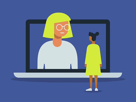 Illustration of video call between friends with giant laptop computer