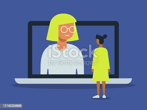 istock Illustration of video call between friends with giant laptop computer 1216035895