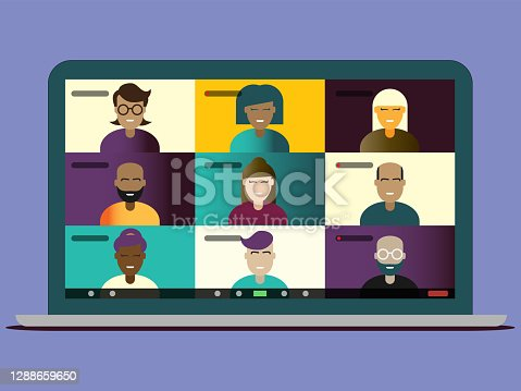 istock Illustration of video conference screen for a multi-ethnic group of friends or colleagues on a macbook laptop screen with software overlay for diverse working from home during lockdown 1288659650