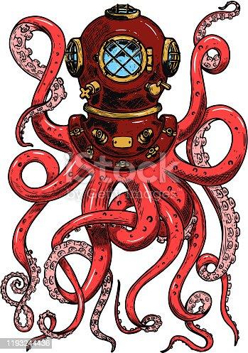 Illustration of vintage diver helmet with octopus tentacles. Design element for poster, card, banner, clothes decoration. Vector illustration