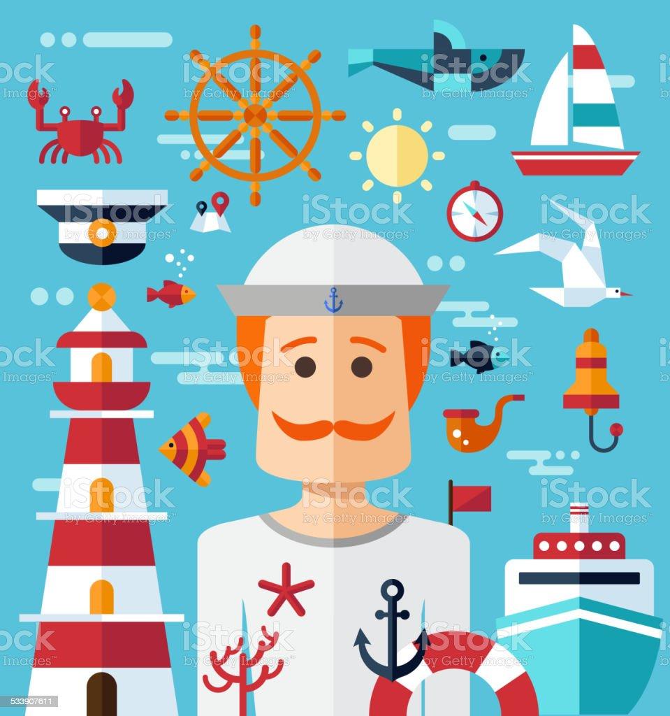 Illustration of vintage flat design modern nautical, marine comp vector art illustration
