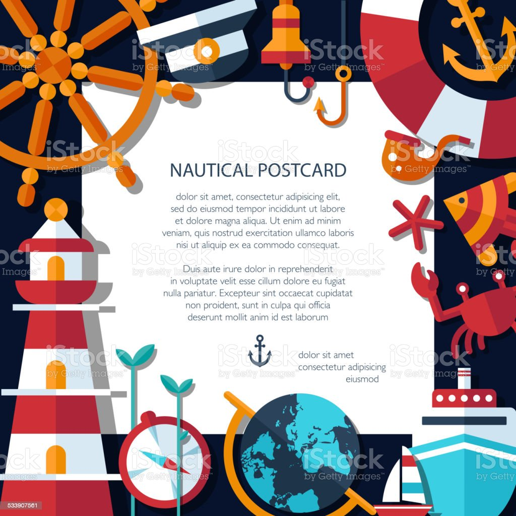 Illustration of vintage flat design modern nautical, marine post vector art illustration