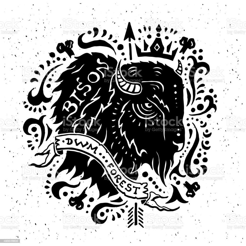 Illustration of vintage grunge label with bison vector art illustration