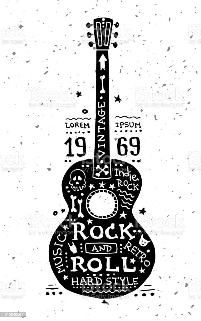 Illustration of vintage grunge label with guitar vector art illustration