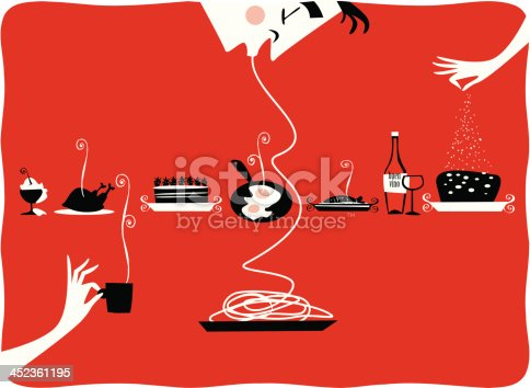 istock Illustration of vintage kitchen items, restaurant, cattering, pastries, gourmet 452361195