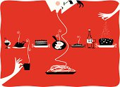 Vintage illustration of cup of ice cream and whipped cream, silhouette of a woman's hand with a cup of coffee, cake with strawberries, pan with fried eggs, baked fish, wine bottle silhouette of hand hechando sugar on a cake and man eating spaghetti. Illustration on red background perfect for kitchen tablecloth for restaurant, cattering, pastries, gourmet.