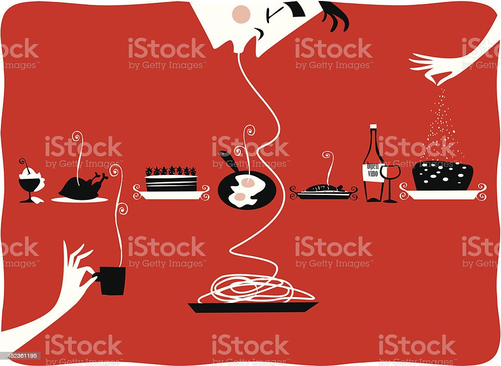Illustration of vintage kitchen items, restaurant, cattering, pastries, gourmet vector art illustration