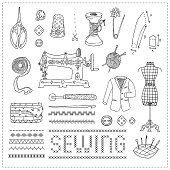 Illustration of vintage sewing accessories. Doodle.