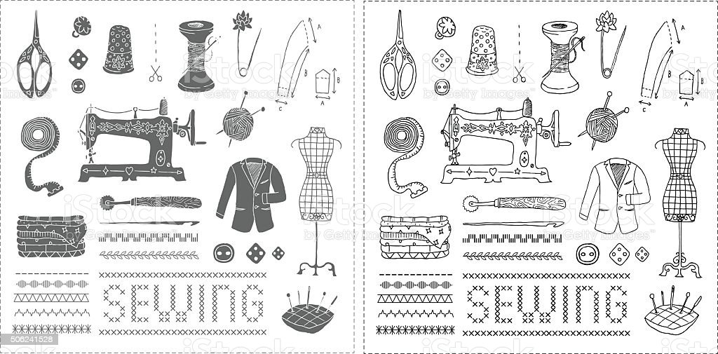 Illustration of vintage sewing accessories. Vector. Doodle. Isolated. vector art illustration