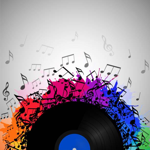 ilustrações, clipart, desenhos animados e ícones de ilustração do disco de vinil com notas musicais, salpicos de arco-íris aquarela e com espaço para texto. elemento do vetor para apresentações, tampas e sua criatividade - cd