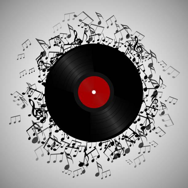 ilustrações, clipart, desenhos animados e ícones de ilustração do disco de vinil com notas de música. - cd