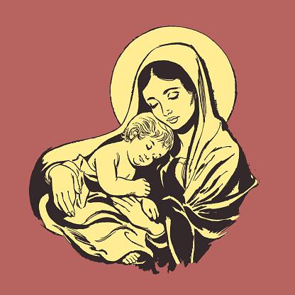 Illustration of Virgin Mary holding baby Jesus