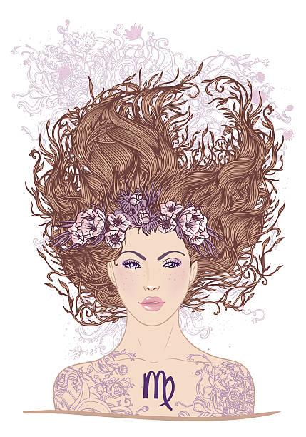 illustration der jungfrau astrologischen zeichen als schönes mädchen - jungfrau stock-grafiken, -clipart, -cartoons und -symbole
