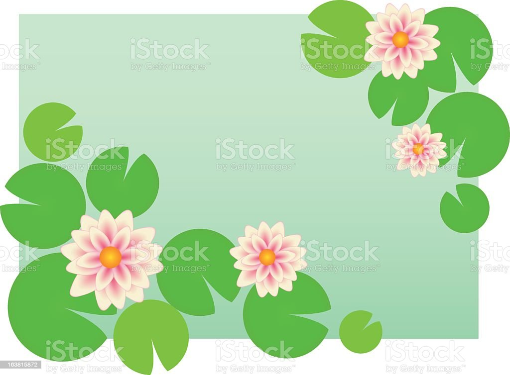 Illustration of water lilies bordering a green square royalty-free illustration of water lilies bordering a green square stock vector art & more images of backgrounds