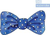 Illustration of watercolor bow with polka pattern