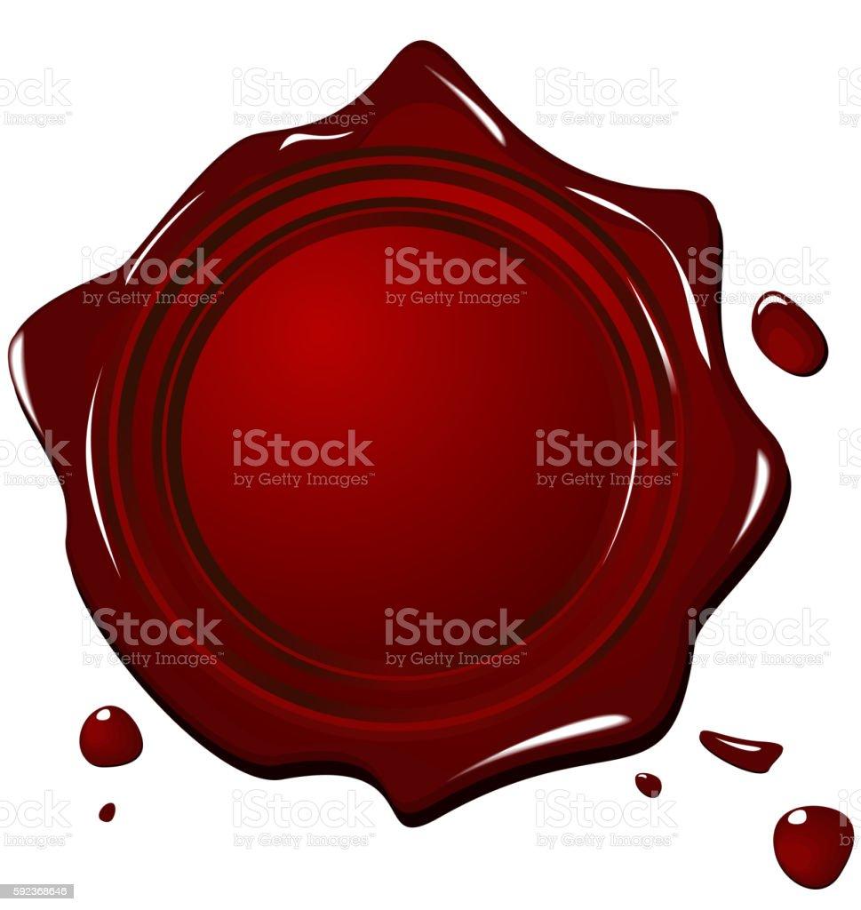 Illustration of wax grunge red seal vector art illustration