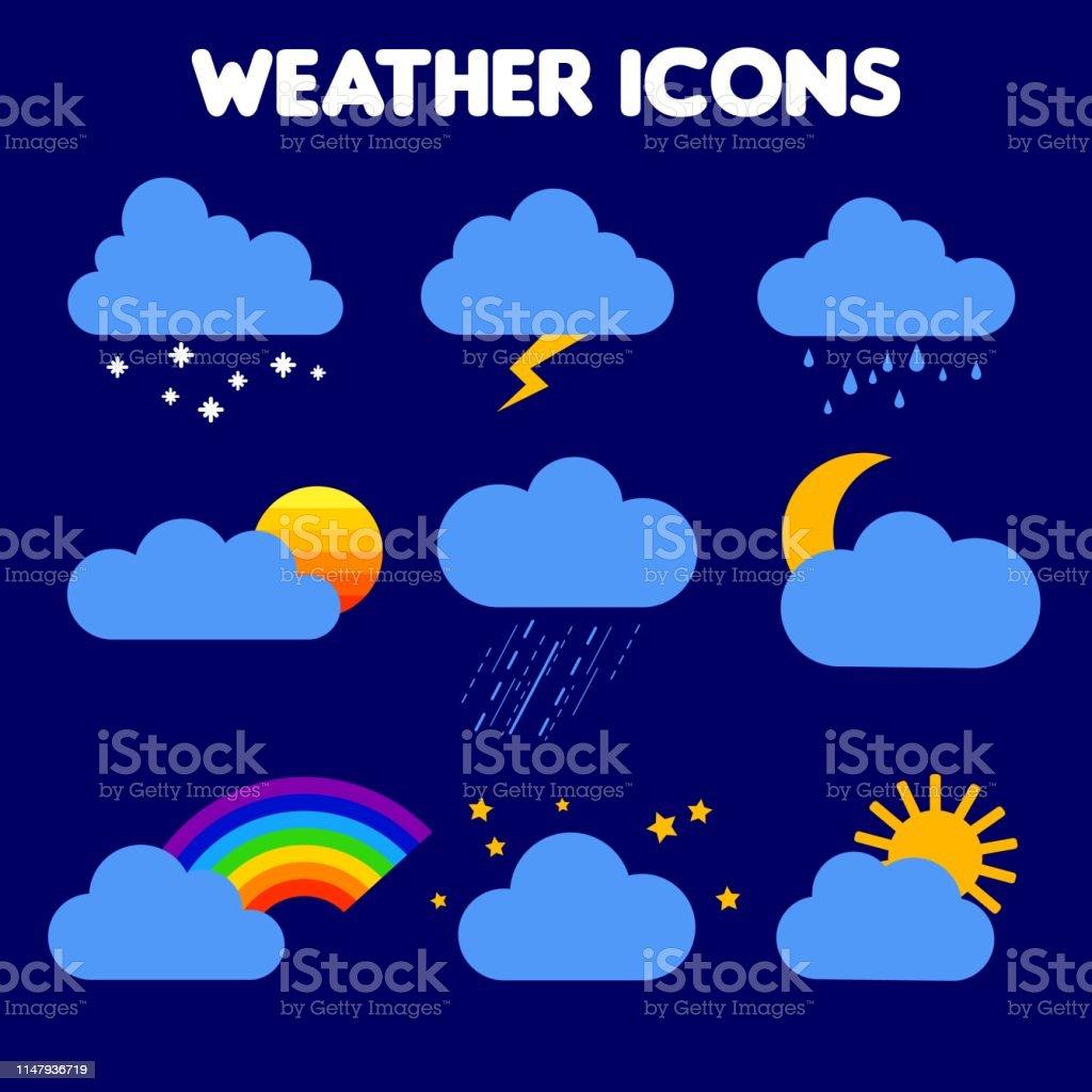 illustration of weather. rain, storm, lightning, snow, sky with...