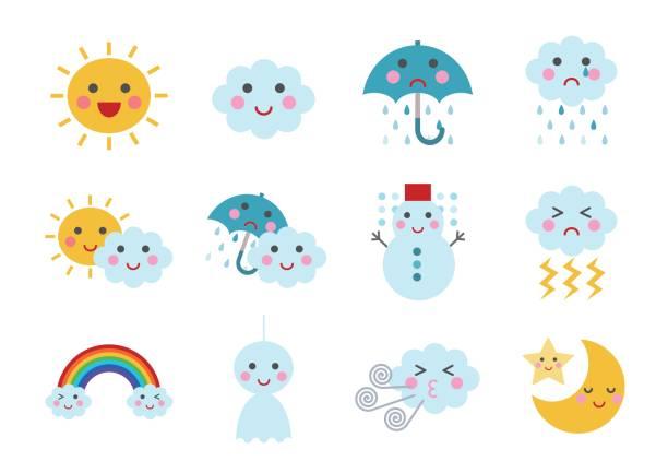 stockillustraties, clipart, cartoons en iconen met illustratie van weer - regen zon