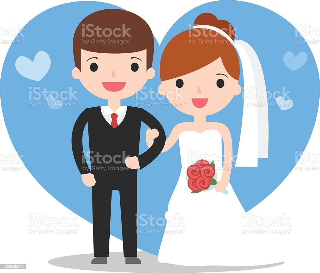 illustration of wedding couple vector art illustration