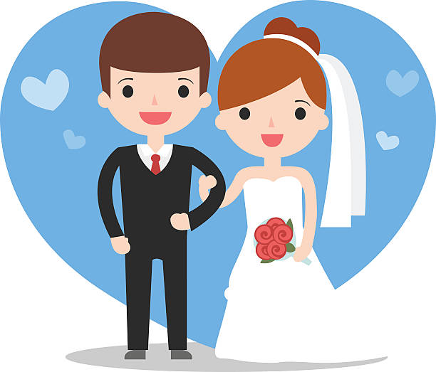 illustration of wedding couple cute wedding couple portrait bridegroom stock illustrations