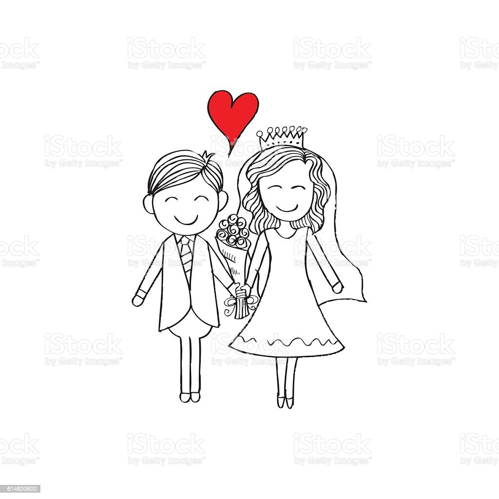 Illustration of wedding couple with wedding dress. Hand drawing illustration. vector art illustration