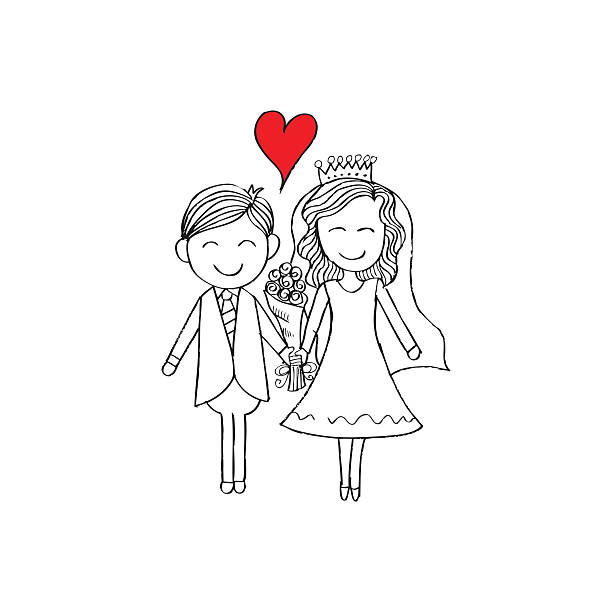 Illustration of wedding couple with wedding dress. Hand drawing illustration. Illustration of wedding couple with wedding dress. Hand drawing illustration. bridegroom stock illustrations