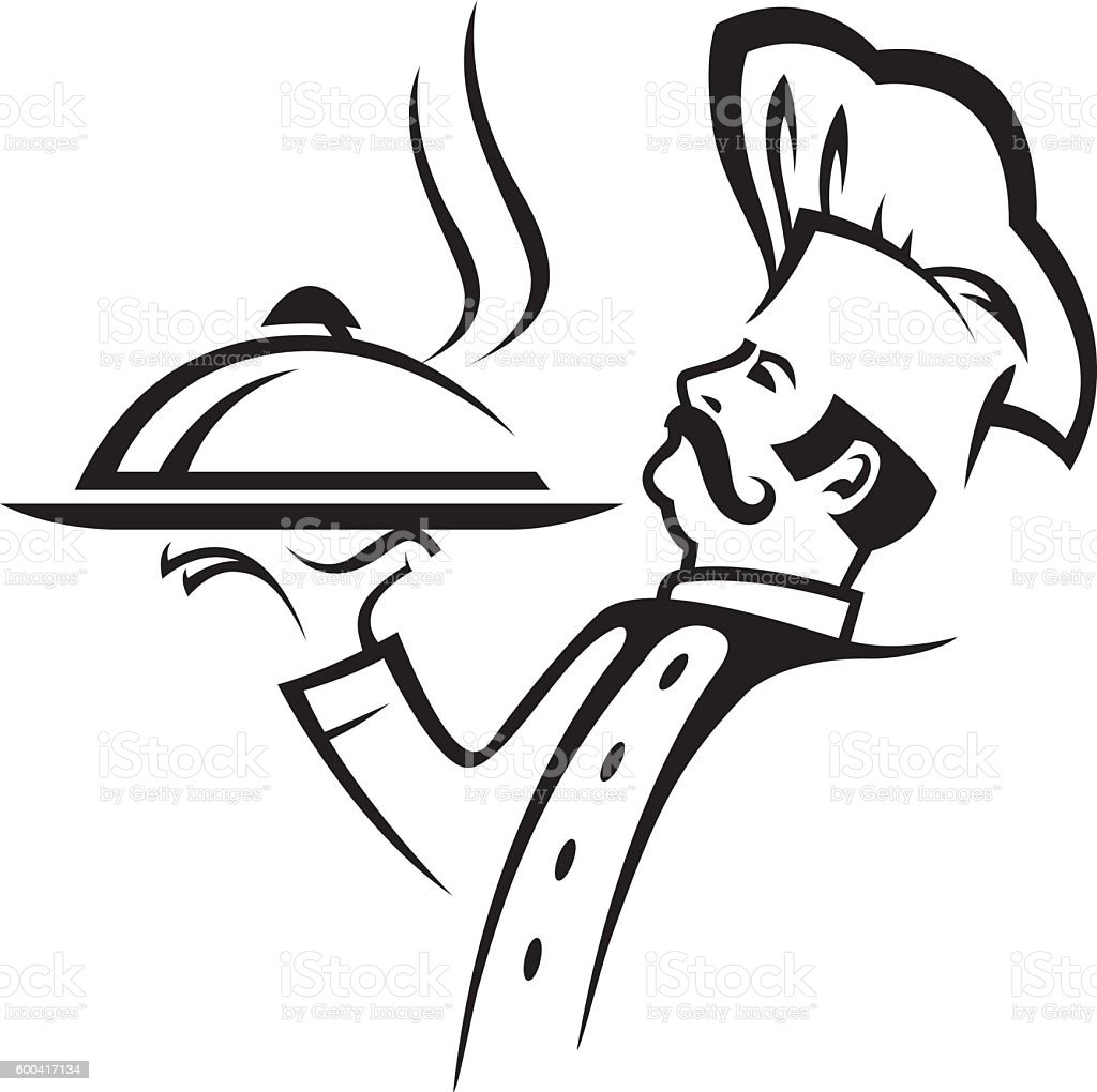 illustration of whiskered chef stock vector art   more chef hat clipart 3 chef hat clip art images