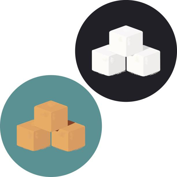 Illustration of white and brown sugar cubes. Illustration of white and brown sugar cubes. Vector icon. caramel stock illustrations
