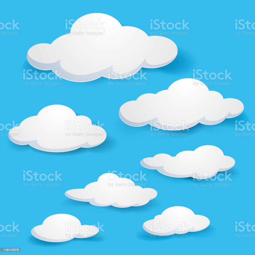 Illustration of white fluffy clouds and a bright blue sky vector art illustration