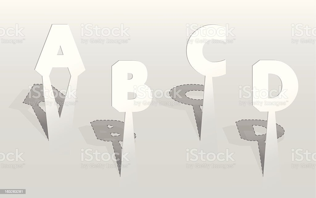 Illustration of white paper letters. royalty-free stock vector art
