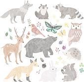 istock Illustration of wild animals in forest 1322121813