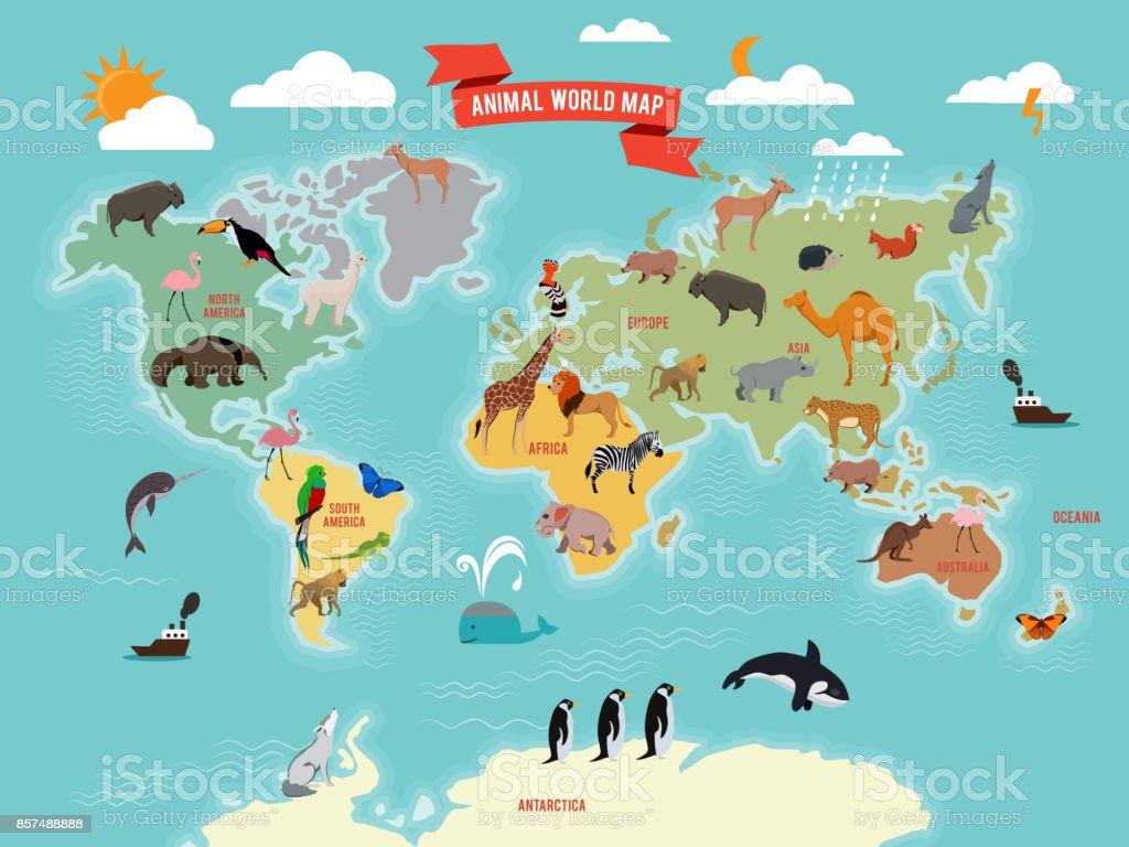 Illustration of wildlife animals on the world map. Vector illustrations set vector art illustration
