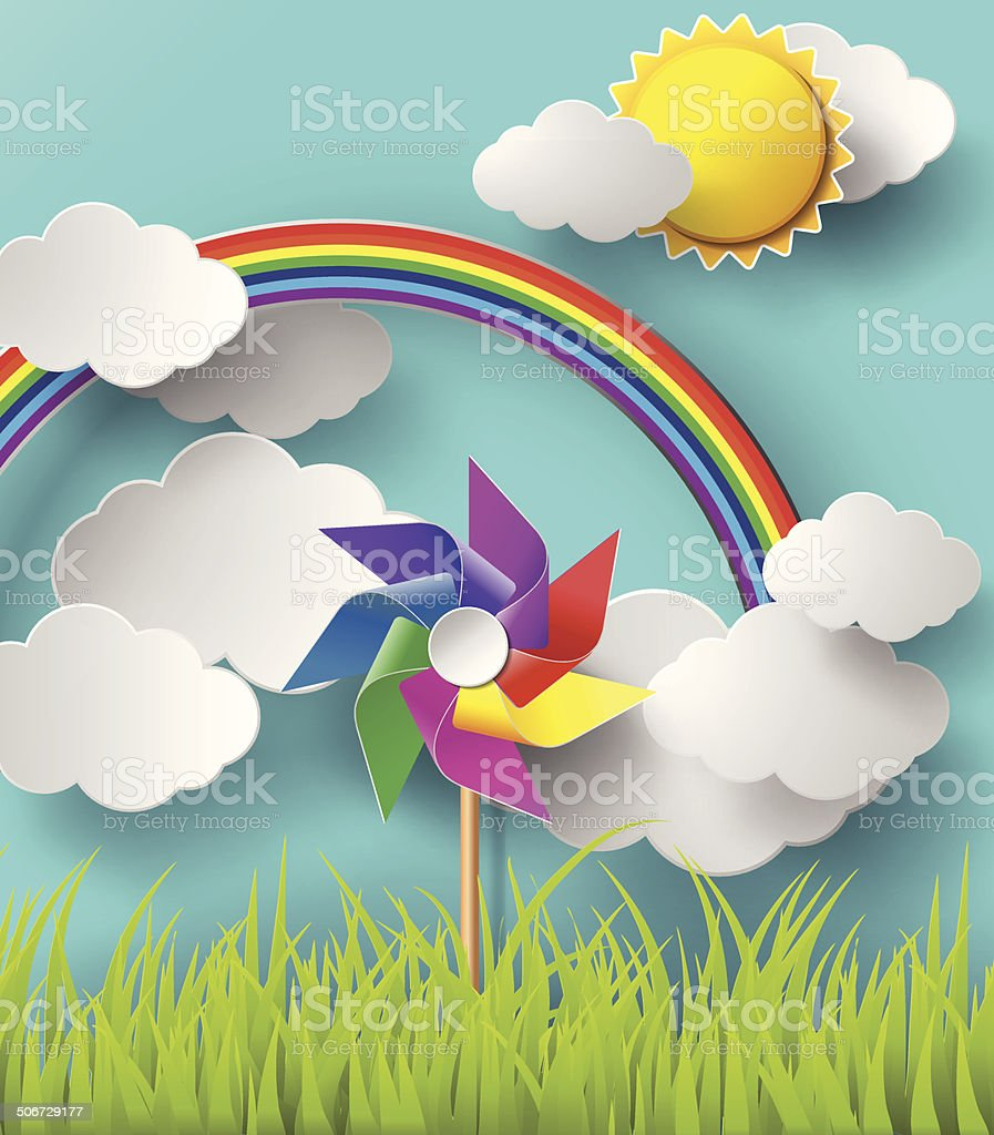 Illustration of wind mills blowing in the cloudy days. royalty-free stock vector art